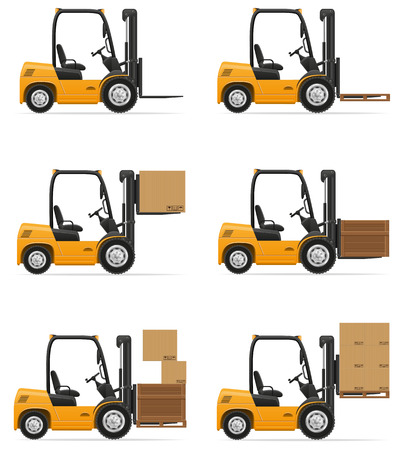 forklift truck vector illustration isolated on white background Stock Photo