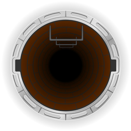 sewer: open sewer pit vector illustration isolated on white background Stock Photo