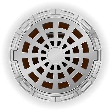 sewer: closed sewer pit with a hatch vector illustration isolated on white background