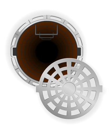 sewer: open sewer pit with a hatch vector illustration isolated on white background