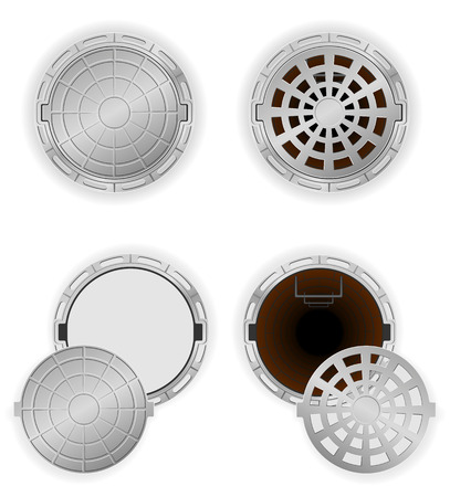 sewer pit with a hatch vector illustration isolated on white background illustration
