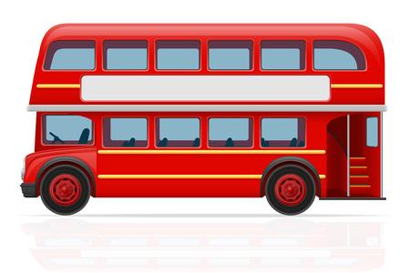 english bus: london bus rouge illustration isolé sur fond blanc