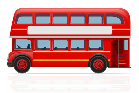 english: london red bus vector illustration isolated on white background