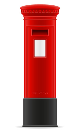 metal post: london red mail box vector illustration isolated on white background