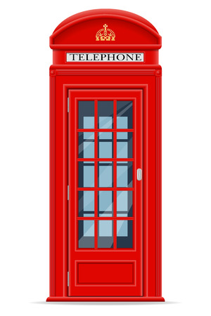 antique booth: london red phone booth vector illustration isolated on white background