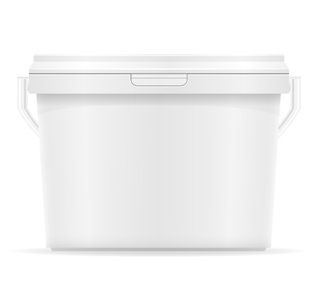 paint container: white plastic bucket for paint vector illustration isolated on background