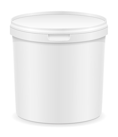 plastic container: white plastic container for ice cream or dessert vector illustration isolated on background