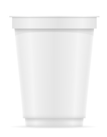 plastic container: white plastic container of yogurt or ice cream vector illustration isolated on background Stock Photo