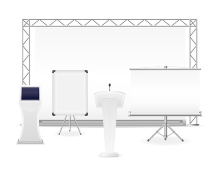 exhibition complex: white exhibition complex for the presentation or workshop vector illustration isolated on background