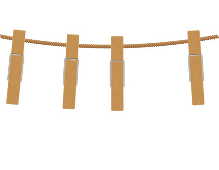 rope vector: wooden clothespins on rope vector illustration isolated on white background Stock Photo