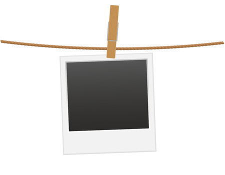clothespin and rope: retro photo frame hanging on a rope with clothespin vector illustration isolated on white background