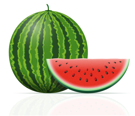 watermelon ripe juicy vector illustration isolated on white background Фото со стока