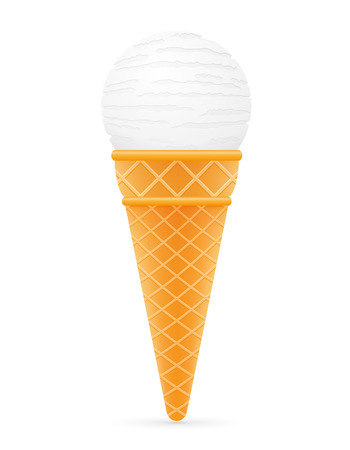 waffle cone: ice cream ball in waffle cone vector illustration isolated on white background