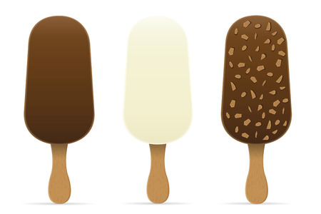 glaze: ice cream with chocolate glaze on stick vector illustration isolated on white background