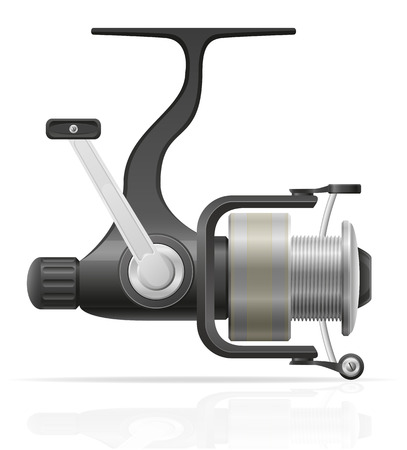 spinning reel: spinning reel for fishing vector illustration isolated on white background
