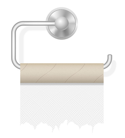 piece of paper: piece toilet paper on holder illustration isolated on white background