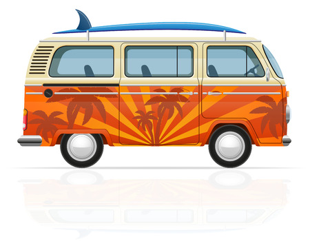 styled: retro minivan with a surfboard vector illustration isolated on white background