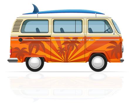 minivan: retro minivan with a surfboard vector illustration isolated on white background