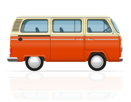 minivan: retro minivan vector illustration isolated on white background