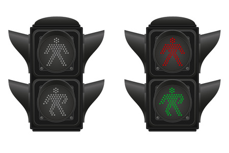 pedestrians: traffic light for pedestrians vector illustration isolated on white background Stock Photo