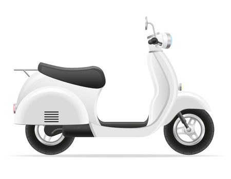 motor scooter: retro scooter vector illustration isolated on white background