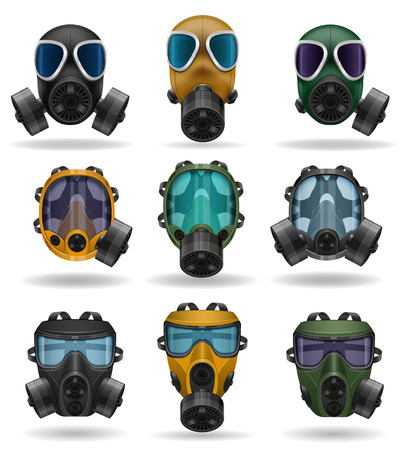 mascara gas: establecer iconos máscara de gas ilustración vectorial aislados en fondo blanco
