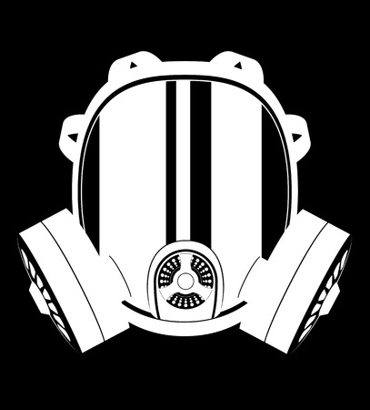 icon gas mask black and white vector illustration isolated on white background