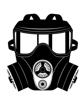 nuclear fear: icon gas mask black and white vector illustration isolated on white background