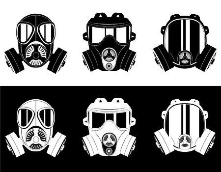 army gas mask: icons gas mask black and white vector illustration isolated on white background Stock Photo