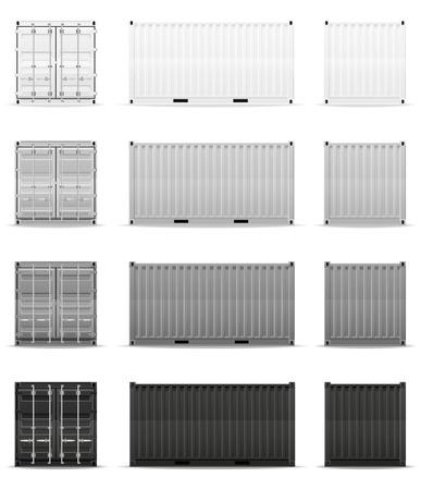tren caricatura: contenedor de carga ilustración vectorial aislados en fondo blanco Foto de archivo