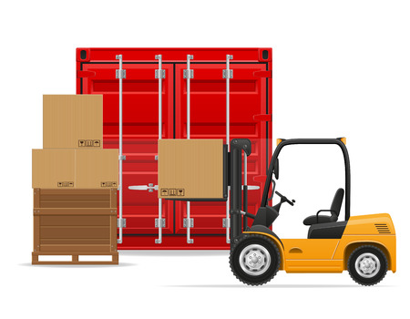 mode of transportation: freight transportation concept vector illustration isolated on white background Stock Photo