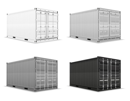 cartoon tractor: cargo container vector illustration isolated on white background