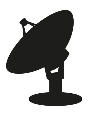 television aerial: satellite dish black silhouette vector illustration isolated on white background
