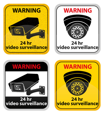 cartoon police officer: video surveillance warning sign vector illustration isolated on white background