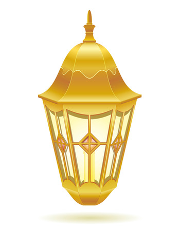 architectural lighting design: retro vintage street light vector illustration isolated on white background