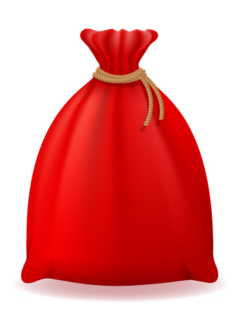 흰색 배경에 고립 된 빨간색 크리스마스 가방 산타 클로스 벡터 일러스트 레이 션