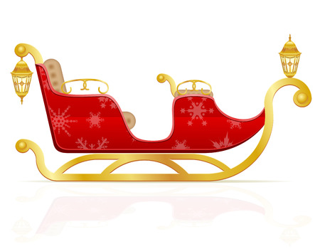 santas sleigh: red christmas sleigh of santa claus vector illustration isolated on white background