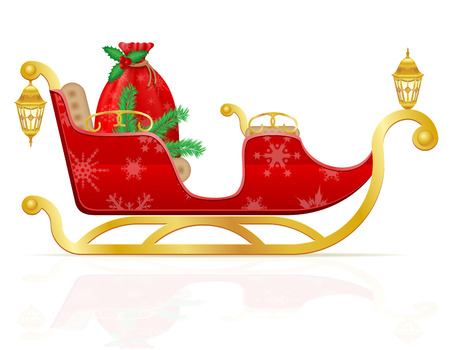santa sleigh: red christmas sleigh of santa claus with gifts vector illustration isolated on white background