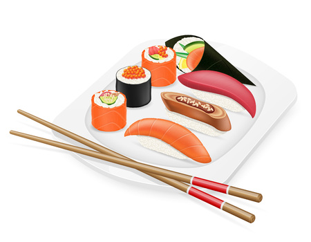 sushi: diverse set of sushi with chopsticks on a plate vector illustration isolated on white background