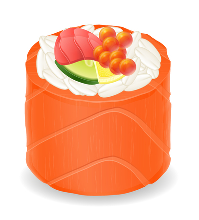 sushi  plate: sushi rolls in red fish vector illustration isolated on white background