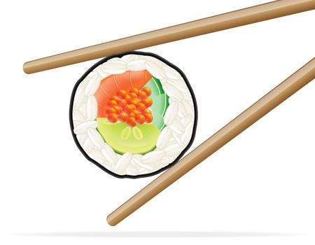 sushi and chopsticks vector illustration isolated on white background
