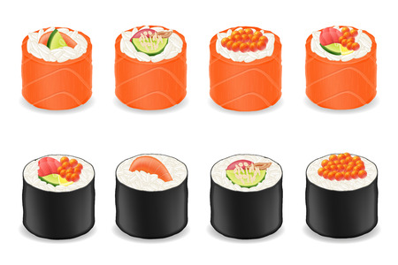 nori: sushi rolls in red fish seaweed nori vector illustration isolated on white background Stock Photo