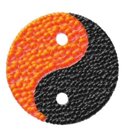 caviar: yin and yang made of caviar vector illustration isolated on white background
