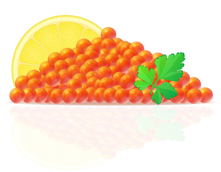 caviar: red caviar with lemon and parsley vector illustration isolated on white background