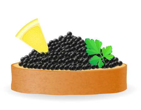 spawn: sandwich with black caviar lemon and parsley vector illustration isolated on white background