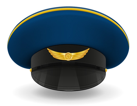 flying hat: professional uniform cap or pilot vector illustration isolated on white background