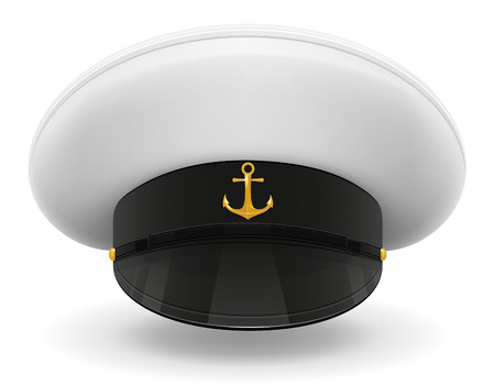 captain cap: professional uniform cap or captain sailor vector illustration isolated on white background Stock Photo