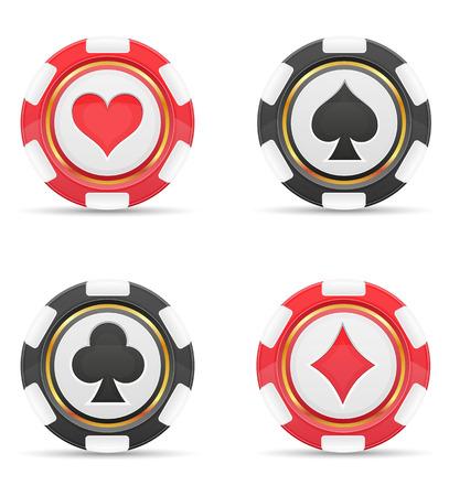 symbol sport: Casino-Chips mit Illustration Karten passt Vektor isoliert auf wei�em Hintergrund