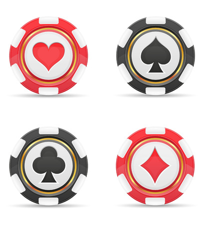 sport icon: casino chips with cards suits vector illustration isolated on white background