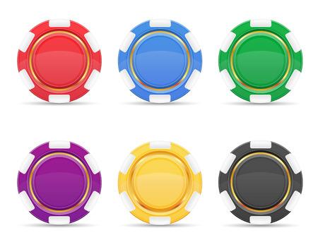 fichas de casino: color de dibujos fichas de casino vectorial aislados en fondo blanco Foto de archivo